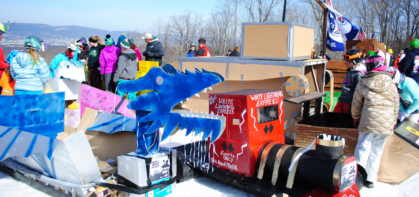 Perfect Day for Cardboard Sled Derby At Montage Mountain